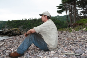 Dr. Wolff pondering the Dorset presence at Stock Cove.