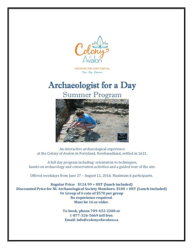 Archaeologist for a Day - NL Arch Society